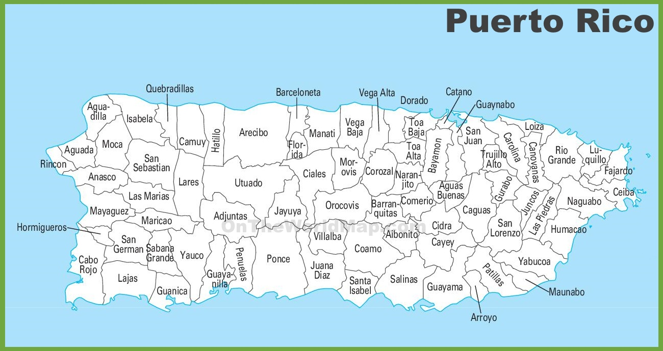 This is a photo of Crafty Printable Map of Puerto Rico