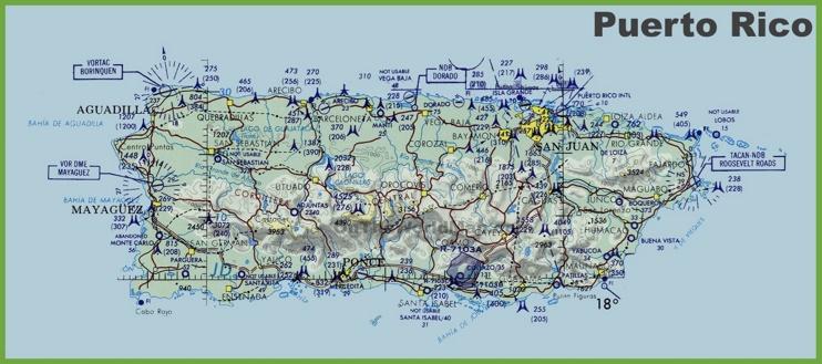Topographic map of Puerto Rico