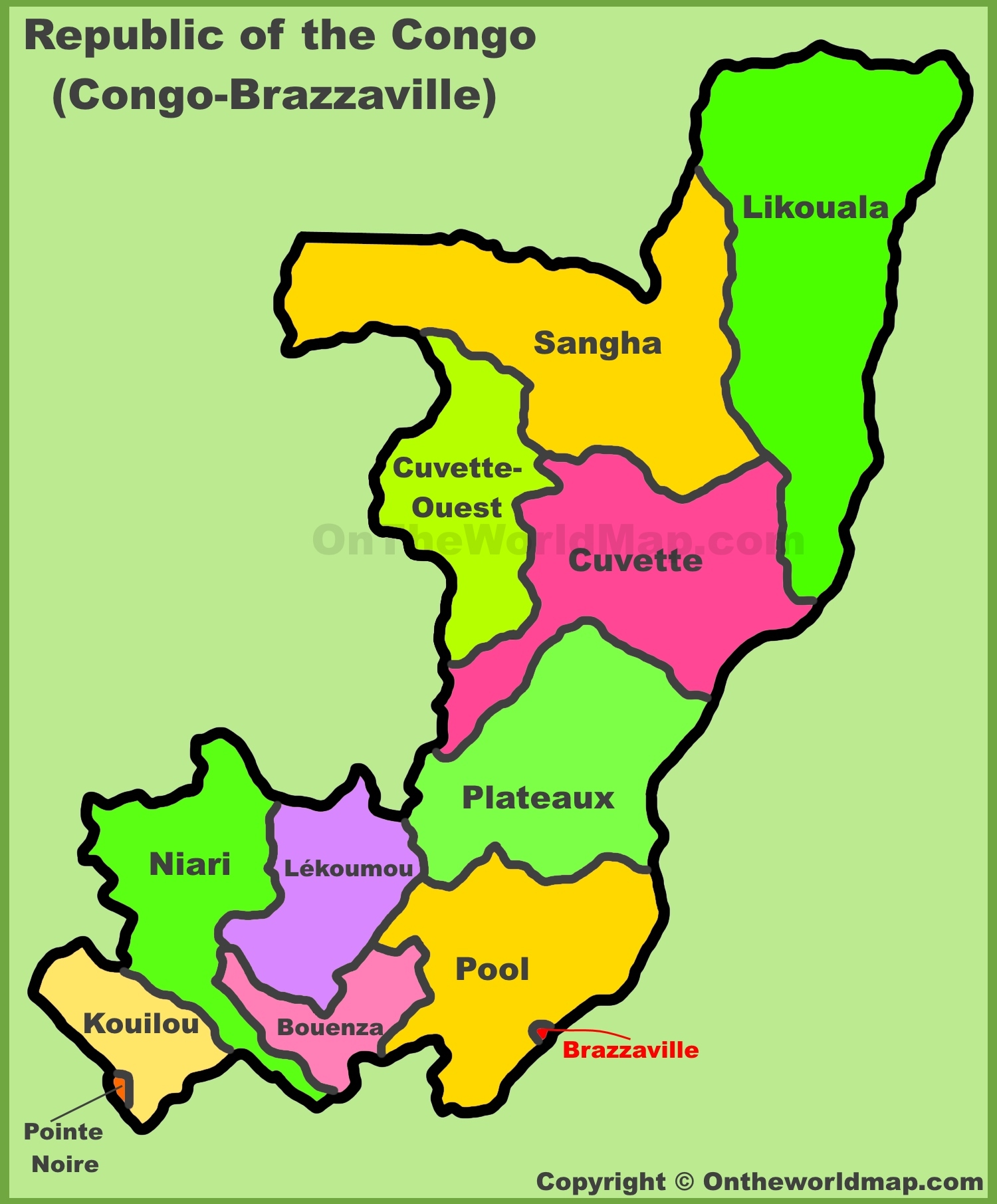 Administrative divisions map of Republic of the Congo