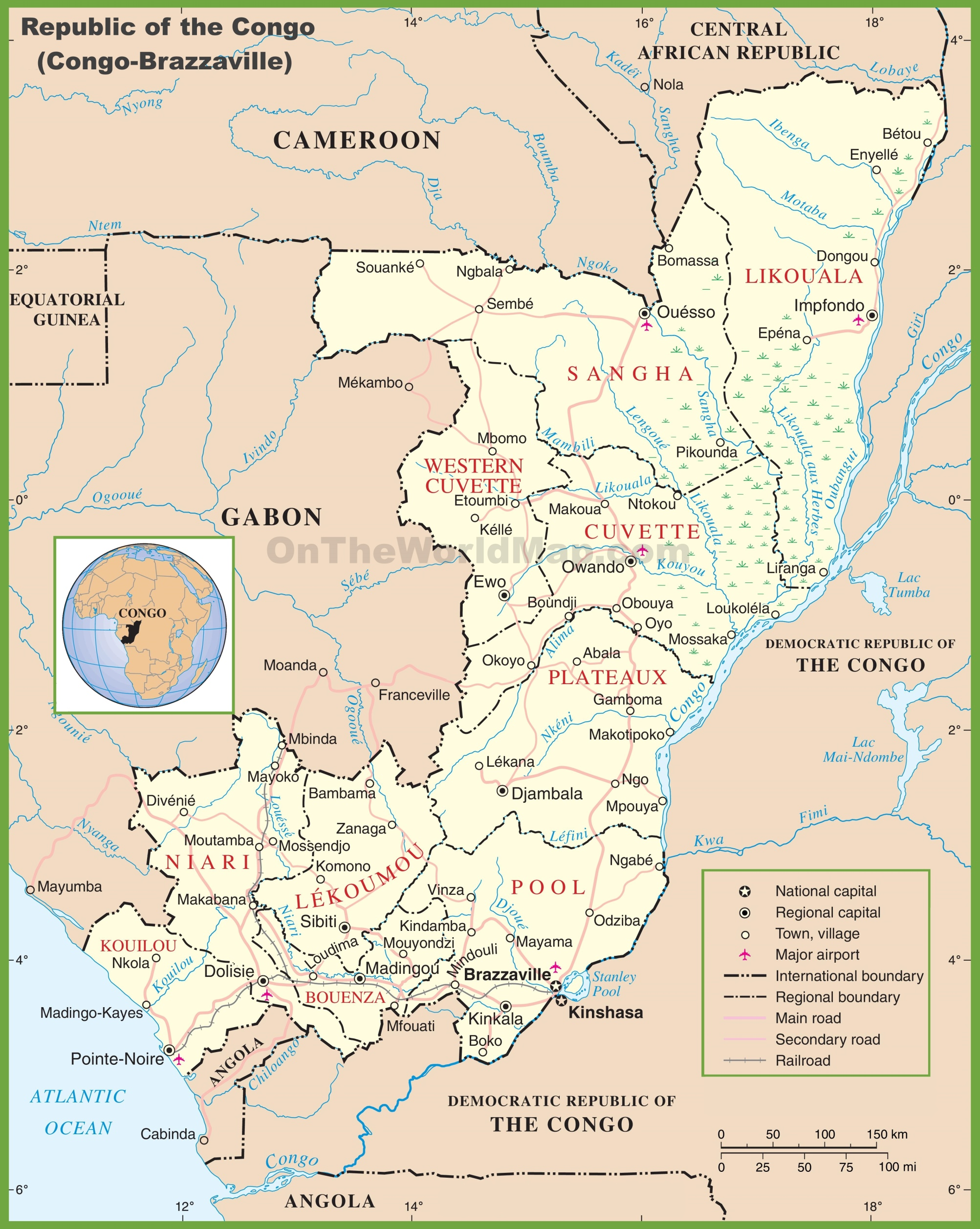 Republic of the Congo Maps Maps of CongoBrazzaville West Congo
