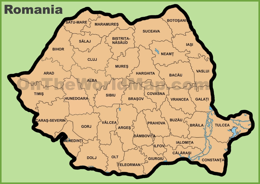 Administrative divisions map of Romania