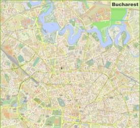 Large Detailed Map of Bucharest