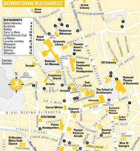 Tourist Map of Bucharest City Center