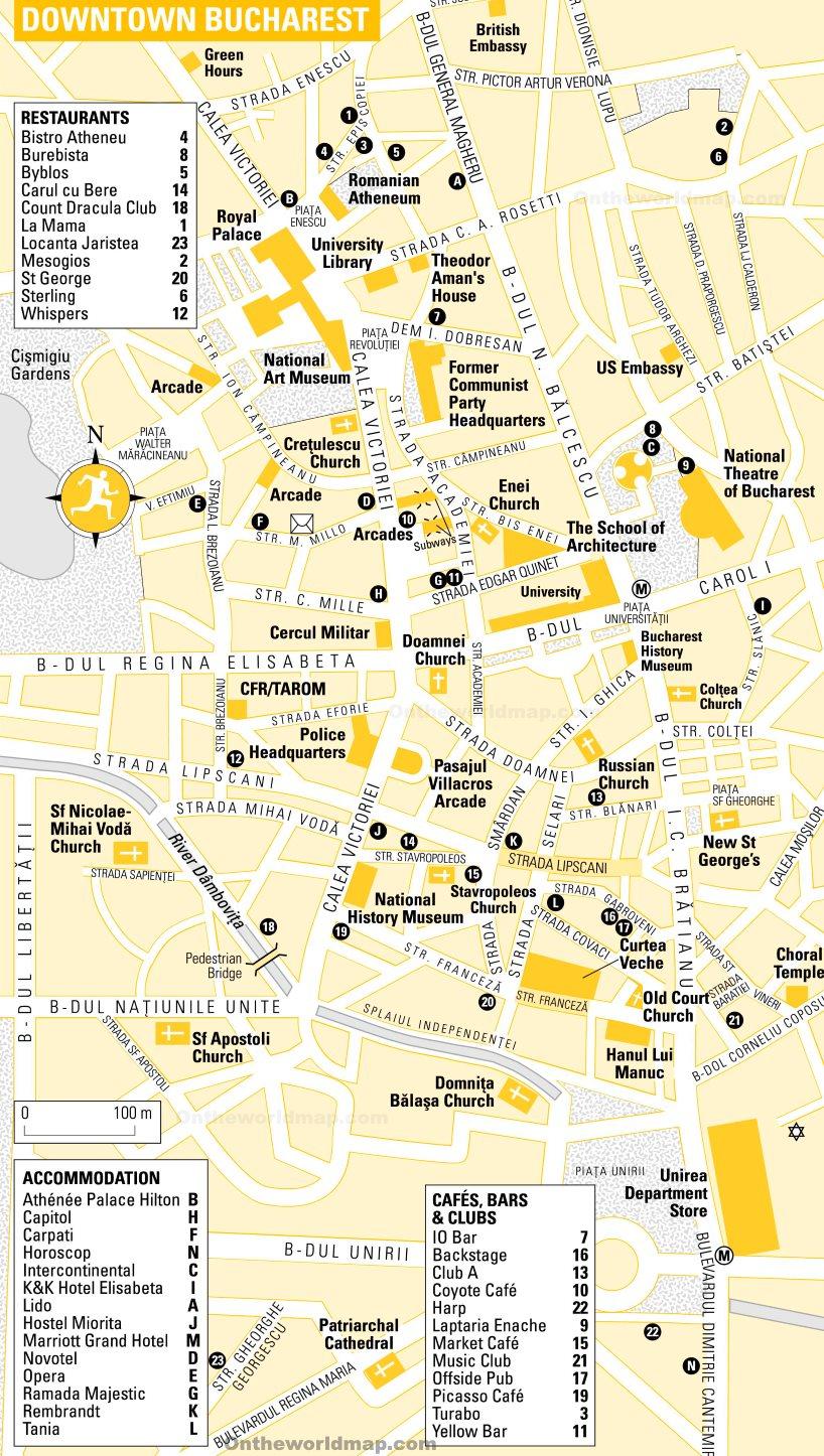Tourist Map of Bucharest City Center