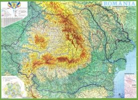 Large detailed physical map of Romania