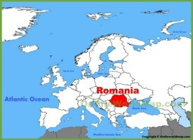 Romania location on the Europe map