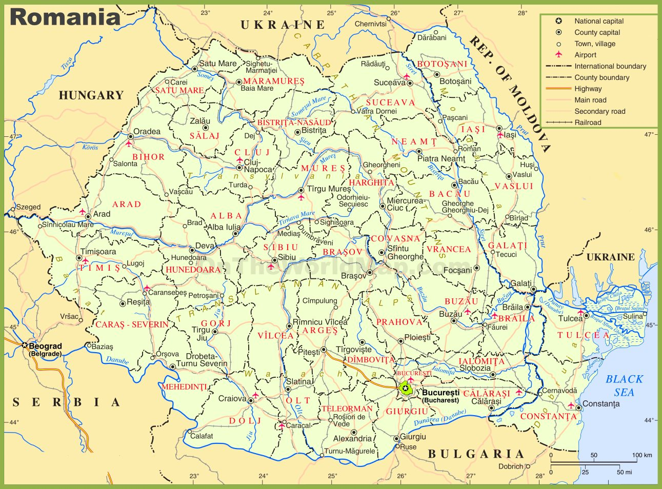 Romania political map romania political map gumiabroncs Image collections
