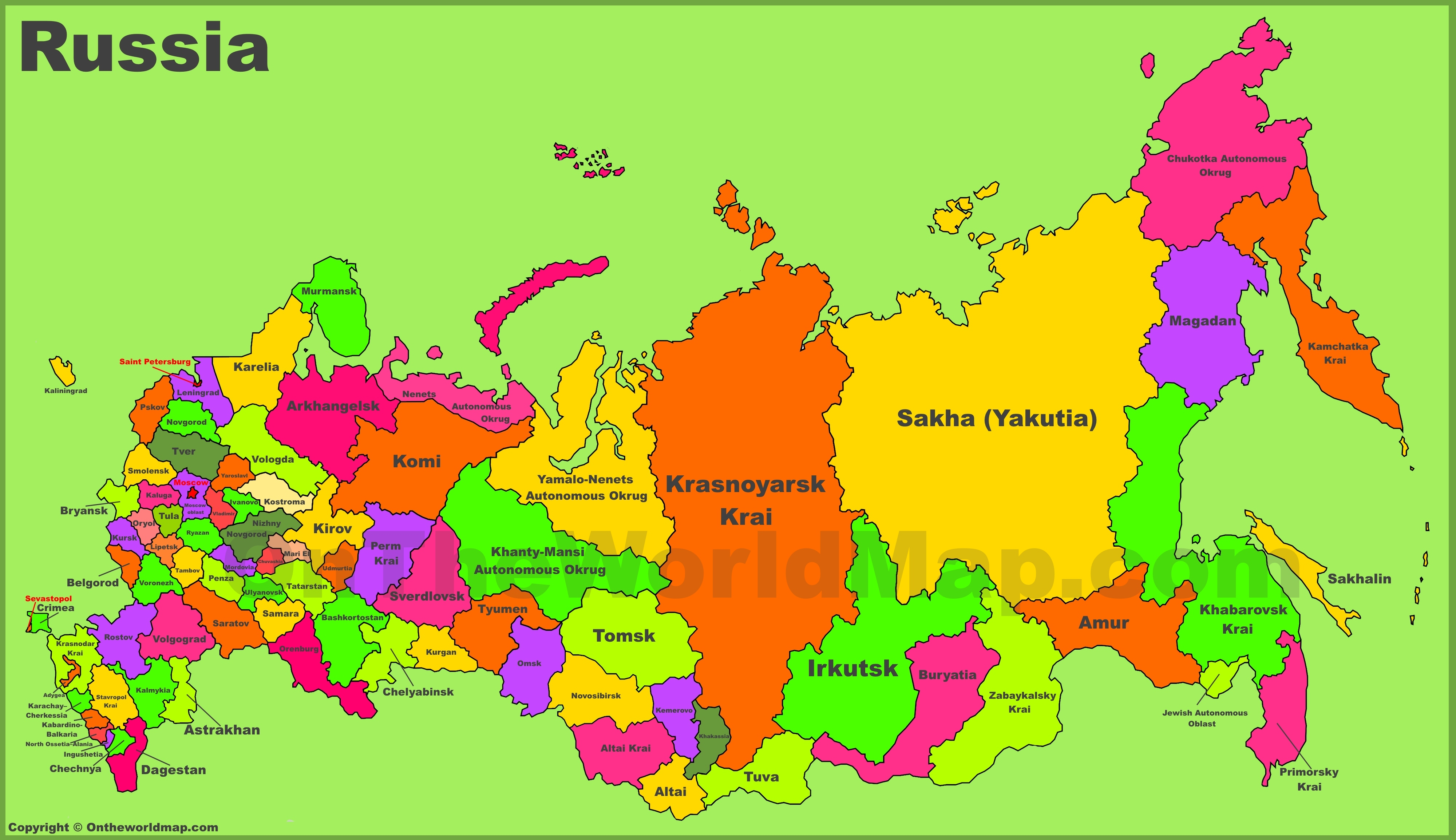 Russia On The Map Administrative divisions map of Russia