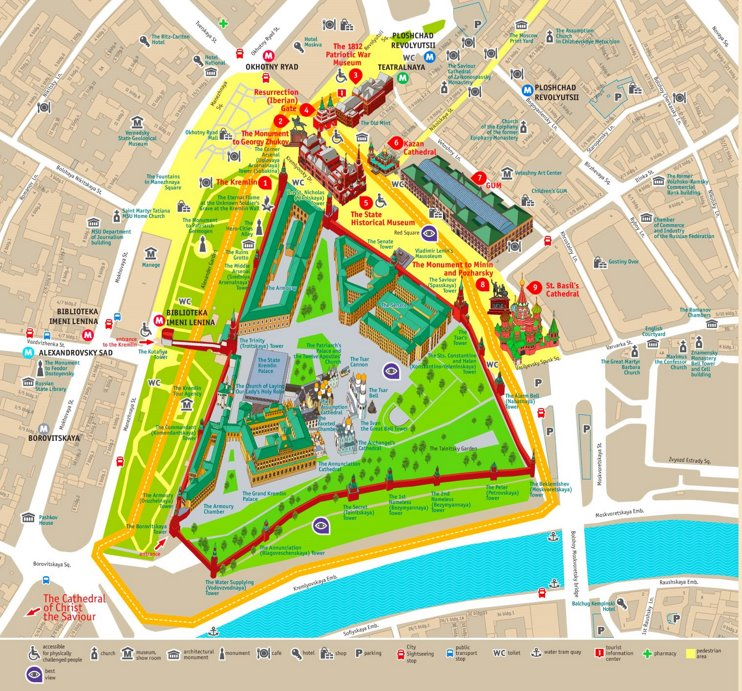 Moscow Kremlin and Red Square tourist map