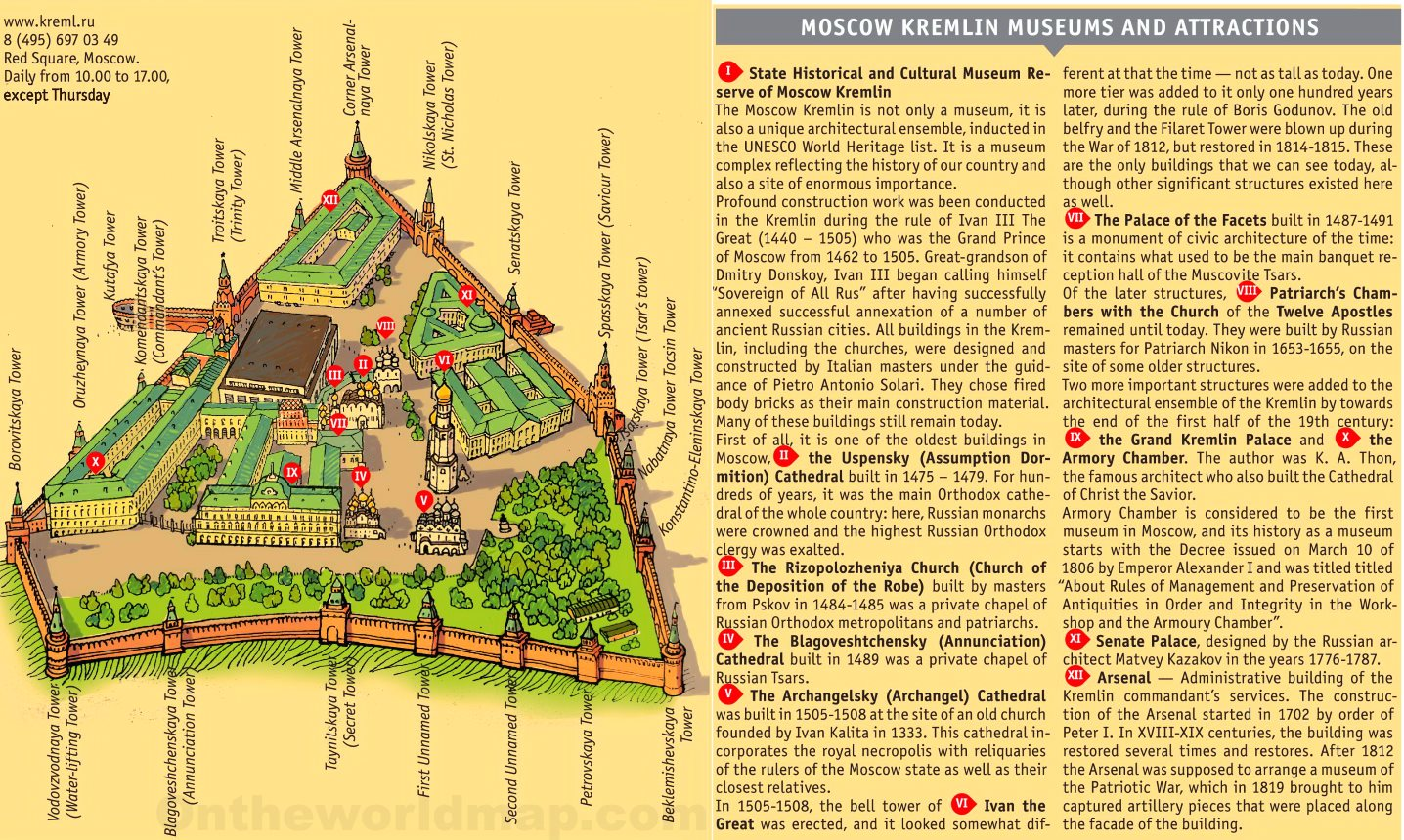 Moscow Kremlin tourist attractions map
