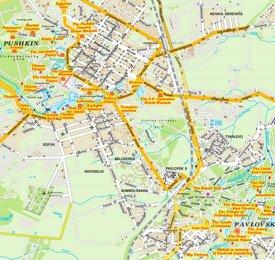 Pushkin and Pavlovsk tourist map