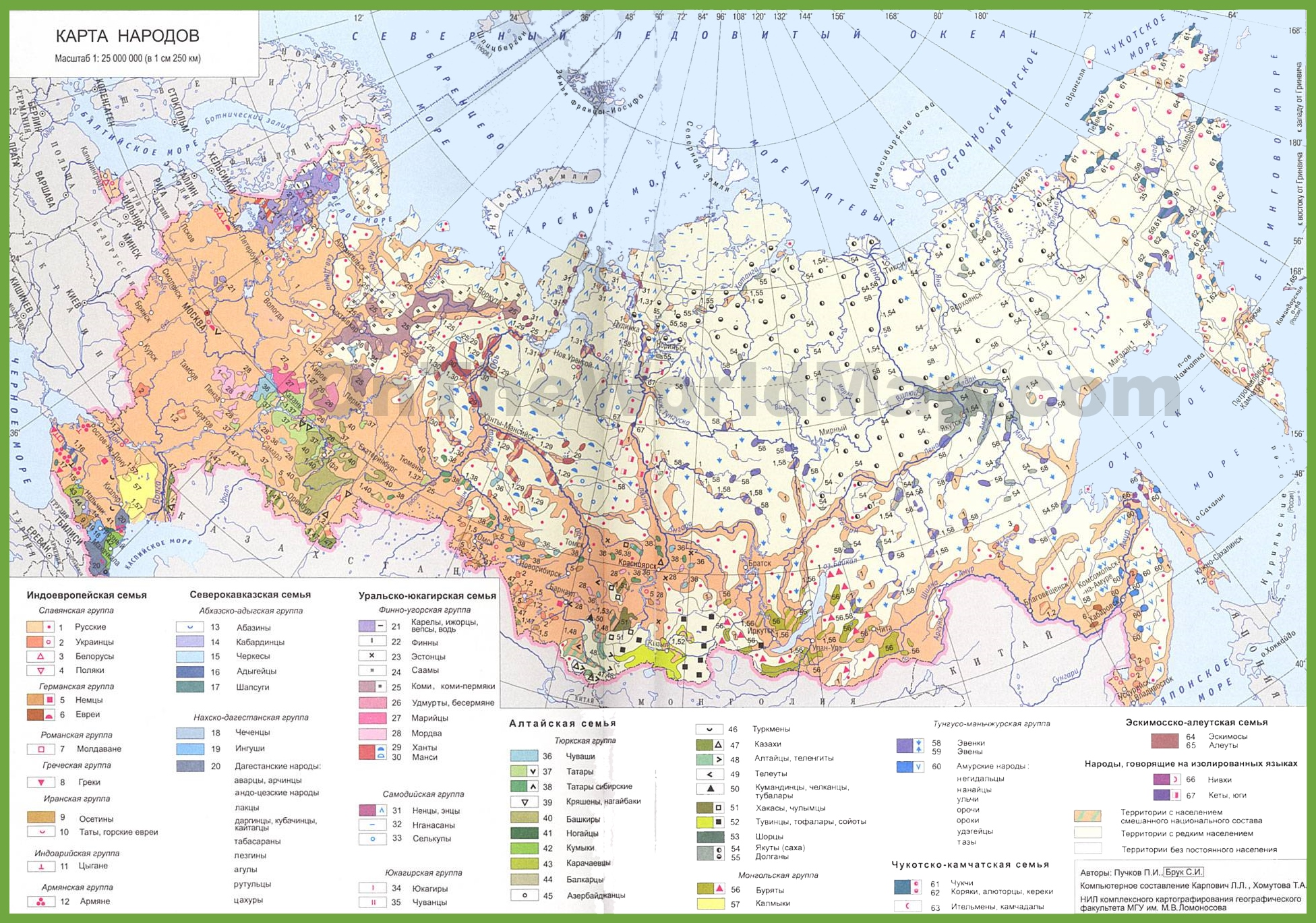Map of ethnic groups in Russia
