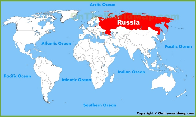 Russia location on the World Map