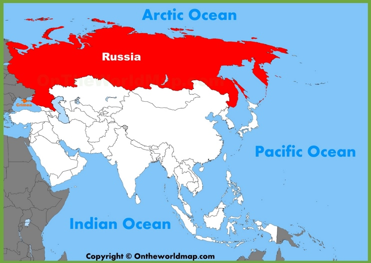 Russia location on the Asia map