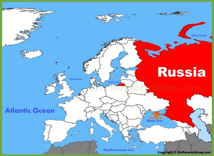 Russia location on the Europe map