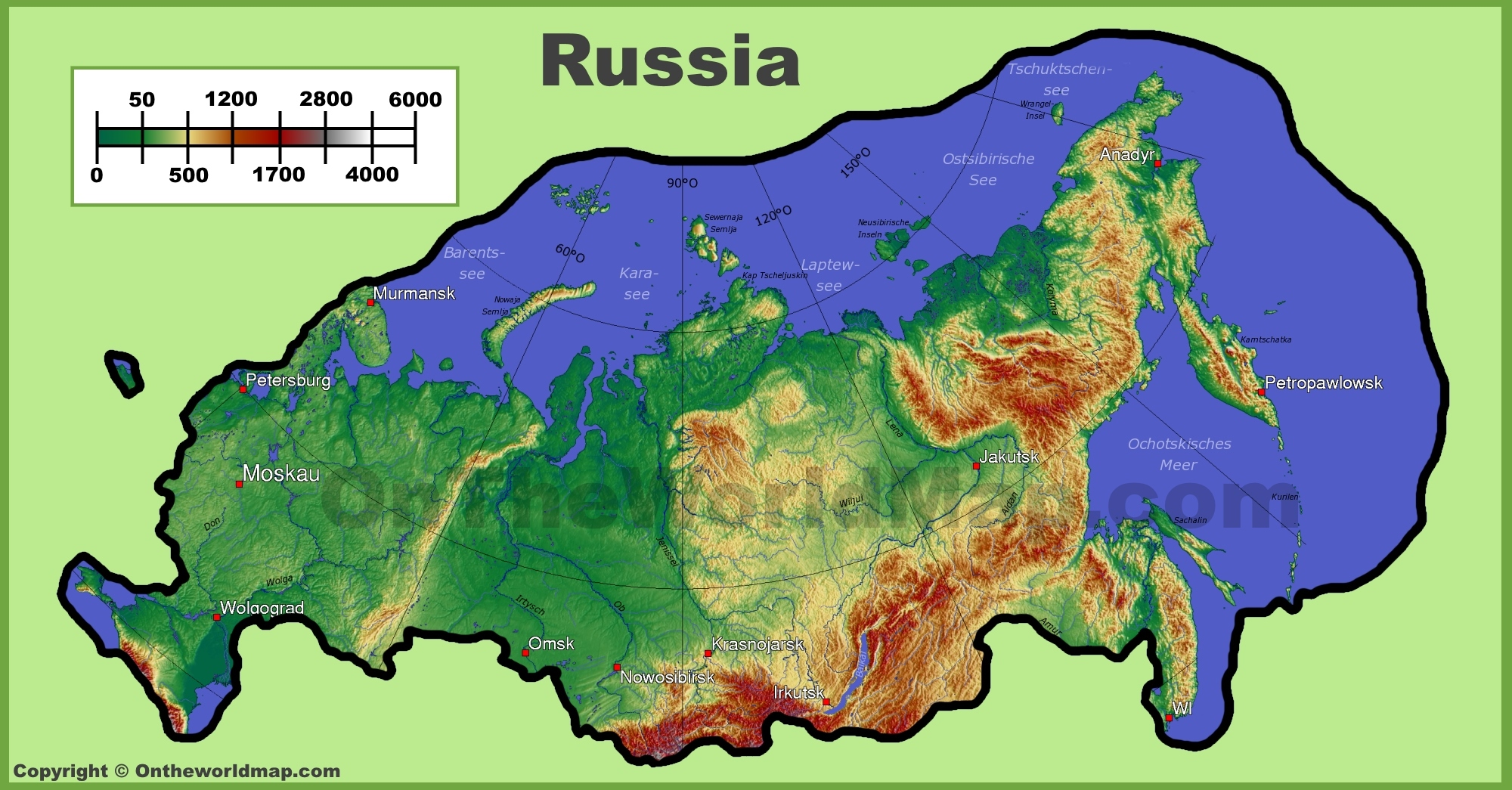 Physical Map Of Russia Russia physical map Physical Map Of Russia