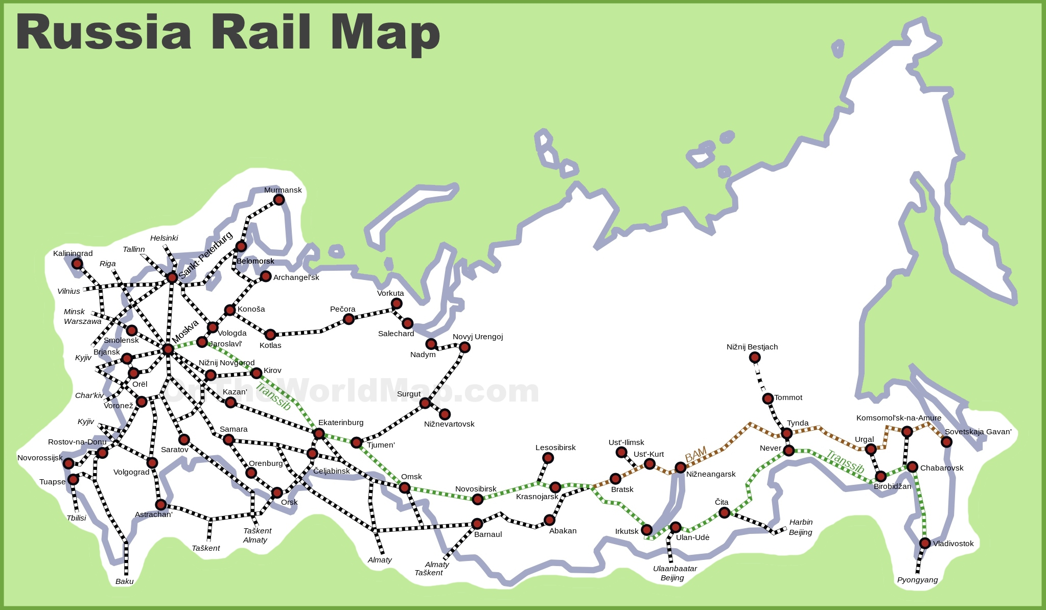 Russia Rail Map - Russia on a map