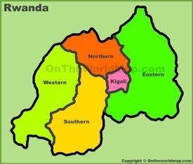Administrative divisions map of Rwanda