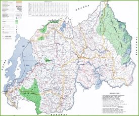Large detailed map of Rwanda
