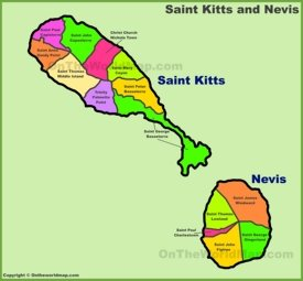 Saint Kitts and Nevis Parish Map