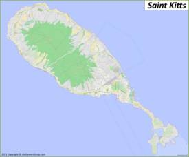 Detailed Map of Saint Kitts Island