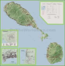Large detailed topographic map of Saint Kitts and Nevis