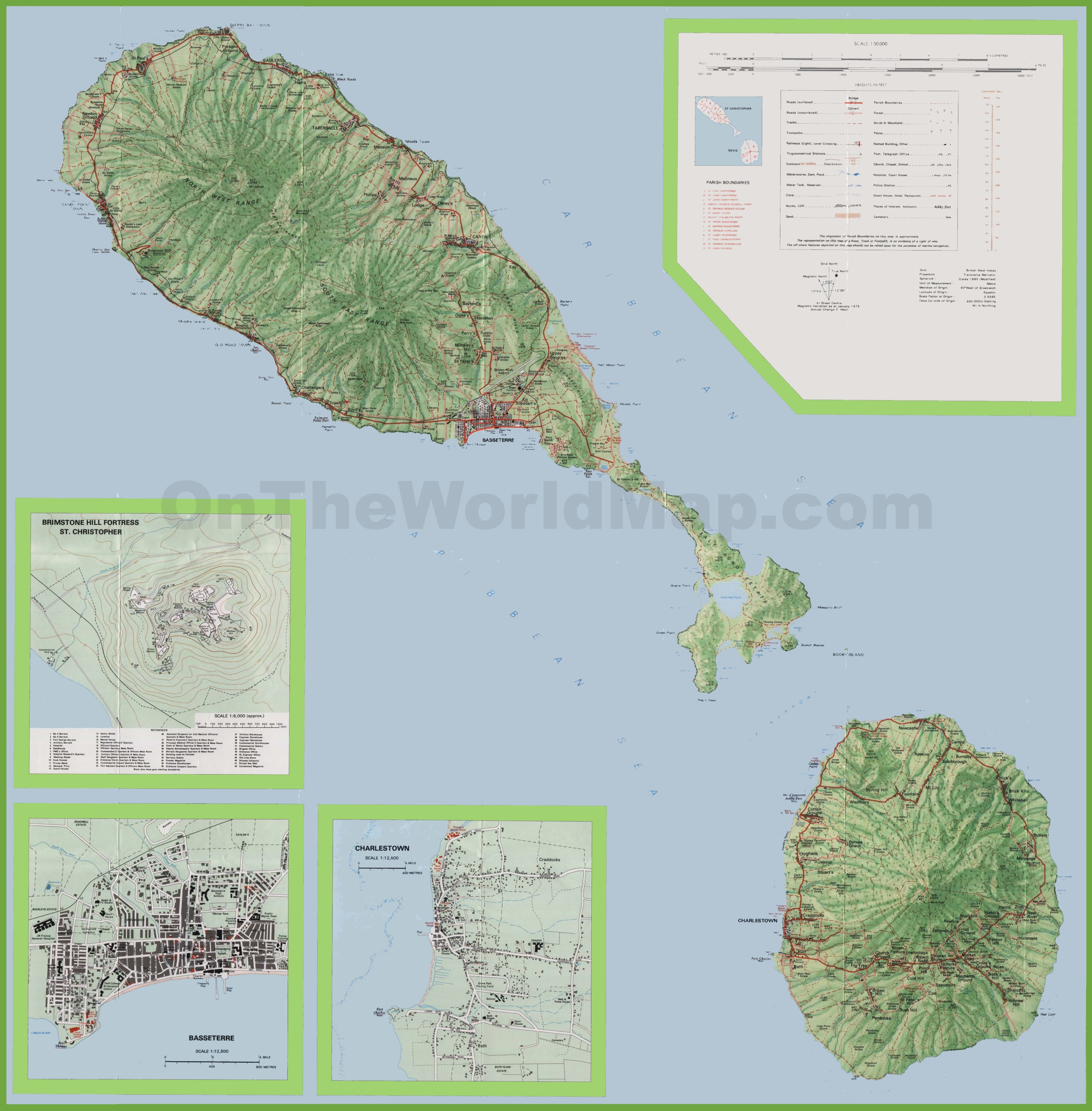 . large detailed topographic map of saint kitts and nevis