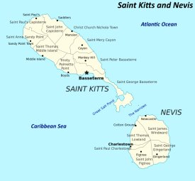 Saint Kitts and Nevis political map