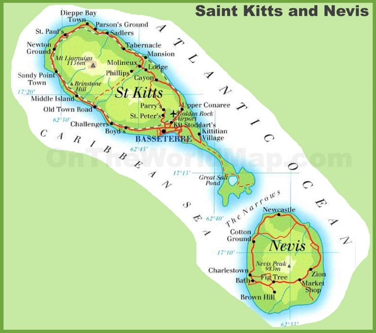 St Kitts Island Map