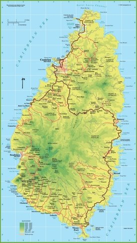 Large detailed map of Saint Lucia