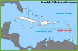 Saint Lucia location on the Caribbean Map