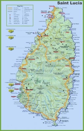 Saint Lucia tourist map