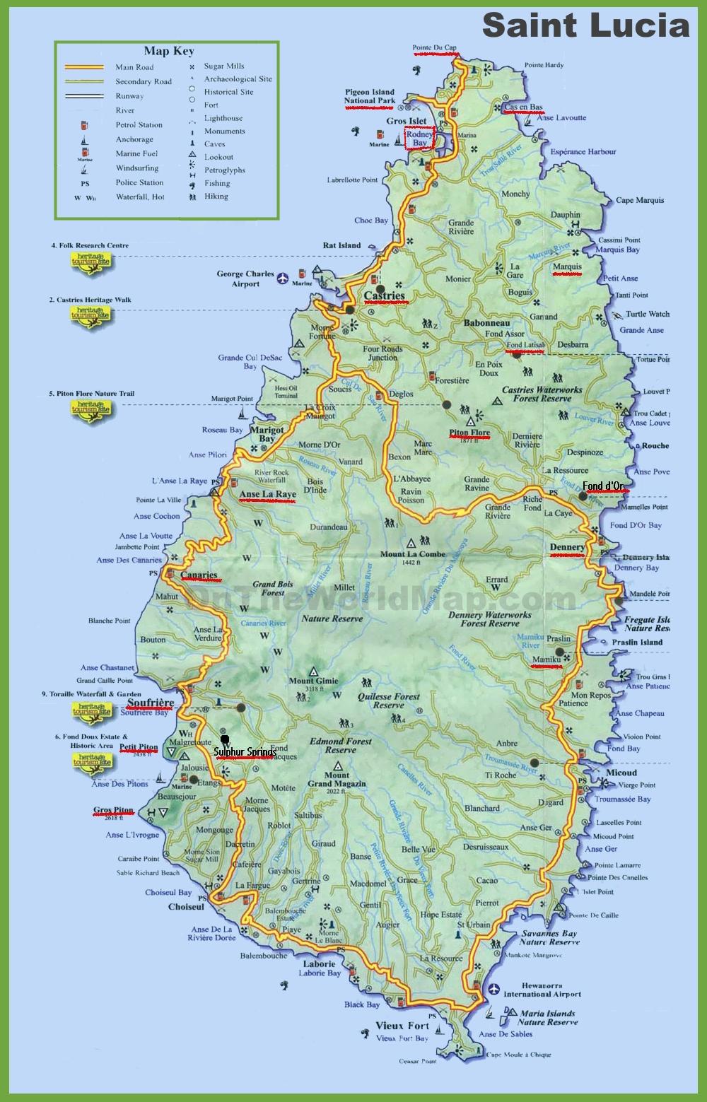 Saint Lucia Map Saint Lucia tourist map