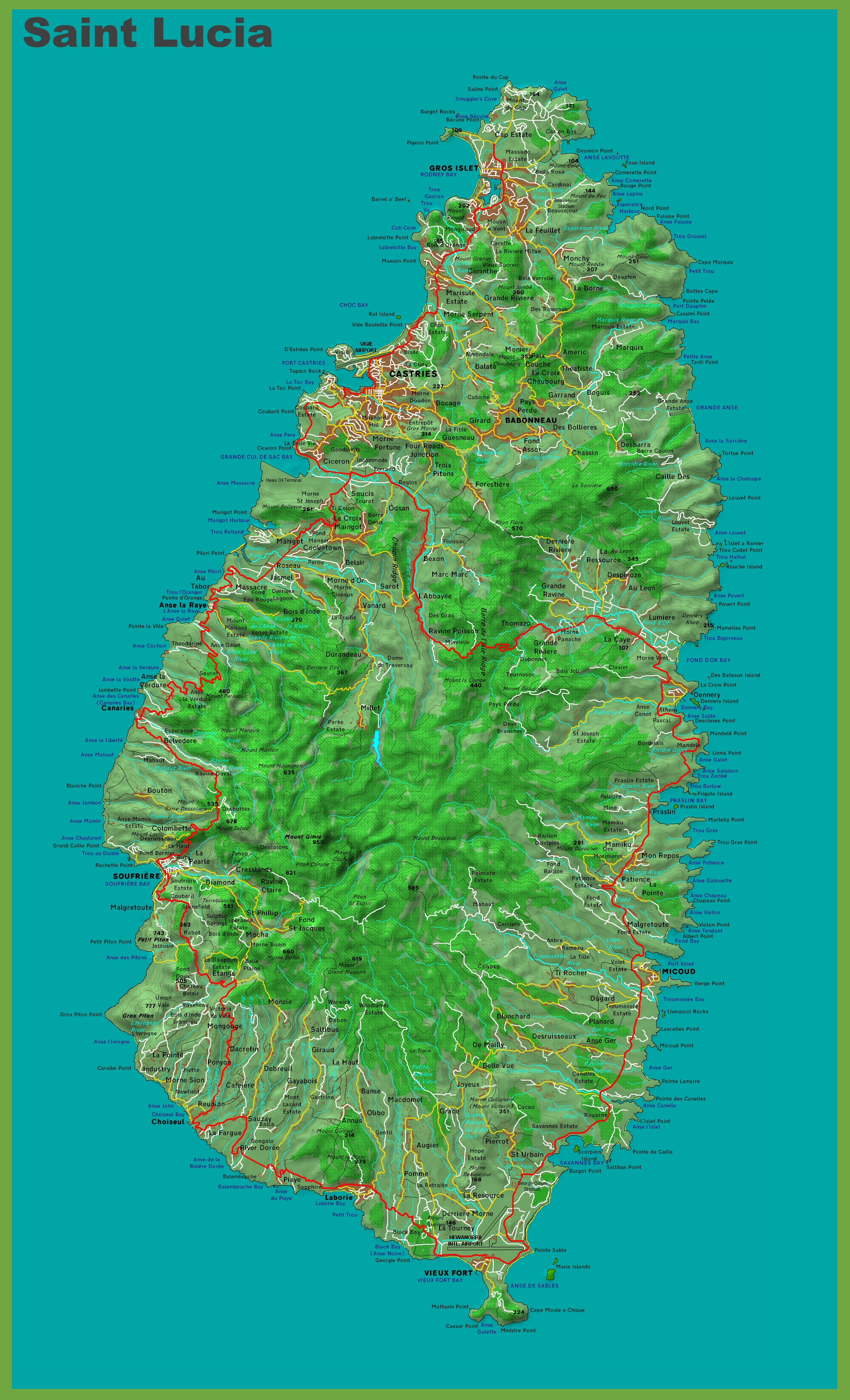 Topographic map of Saint Lucia