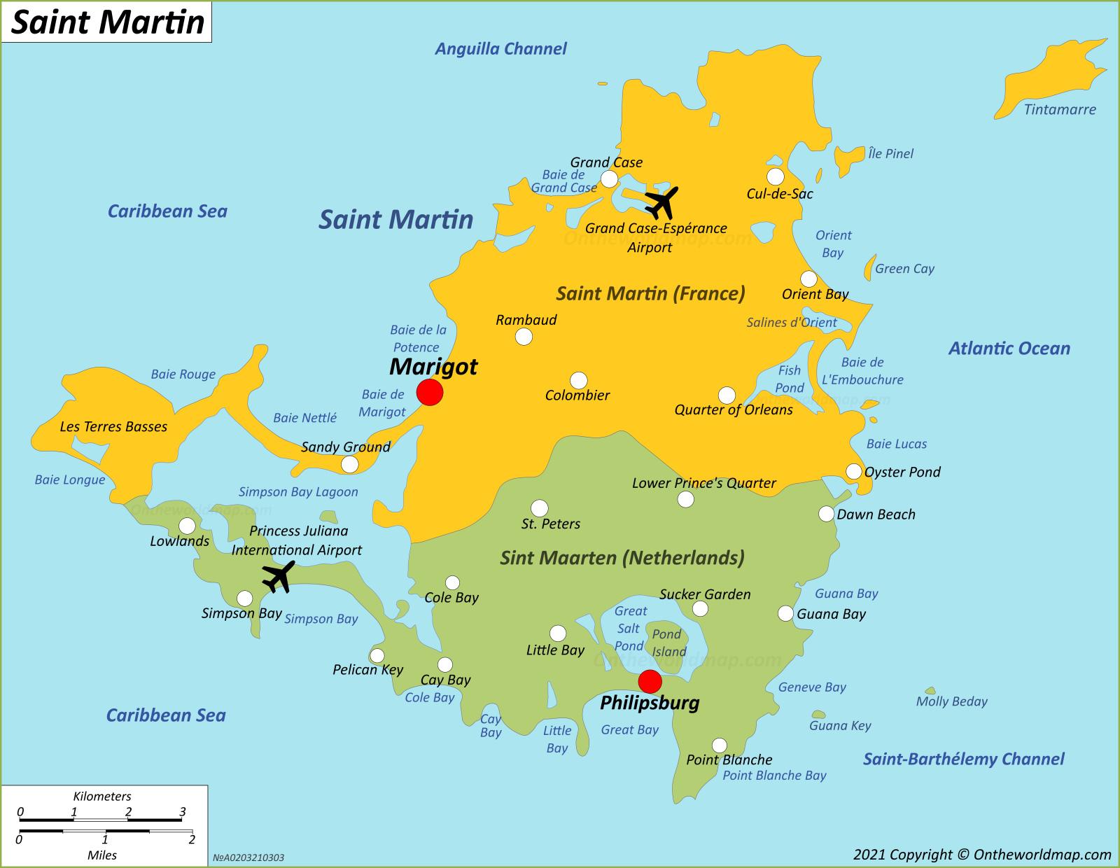 Map of Saint Martin - Sint Maarten