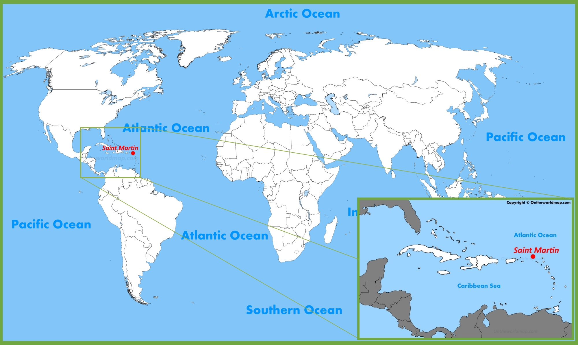 Saint Martin Location on the World Map