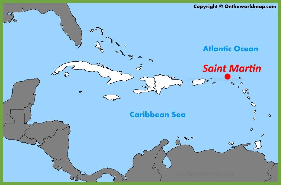 Saint Martin location on the Caribbean Map