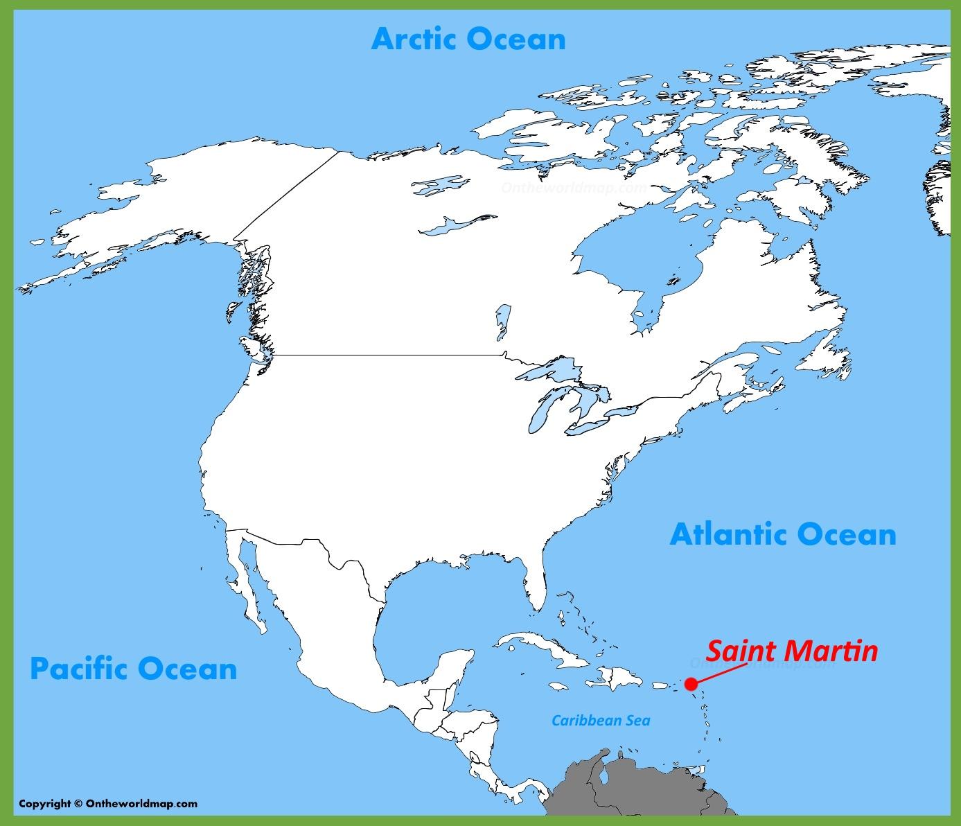 Saint Martin location on the North America Map