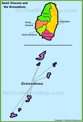 Administrative divisions map of Saint Vincent and the Grenadines