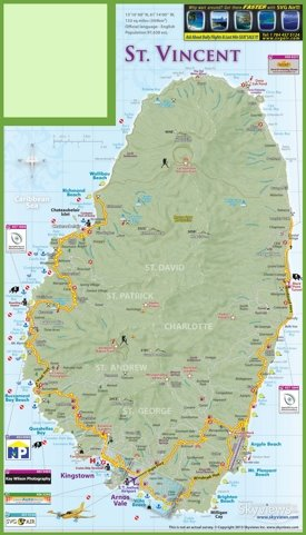 Large detailed tourist map of Saint Vincent island