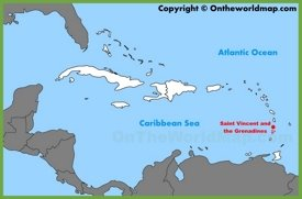 Saint Vincent and the Grenadines location on the Caribbean map