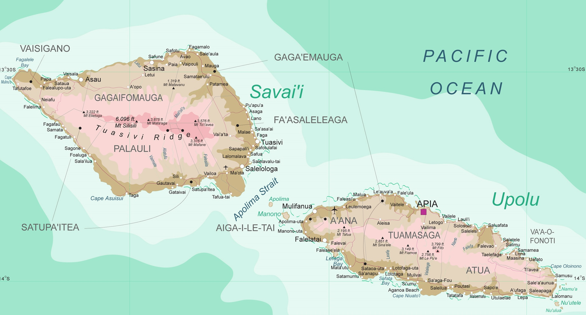 Large detailed map of Samoa
