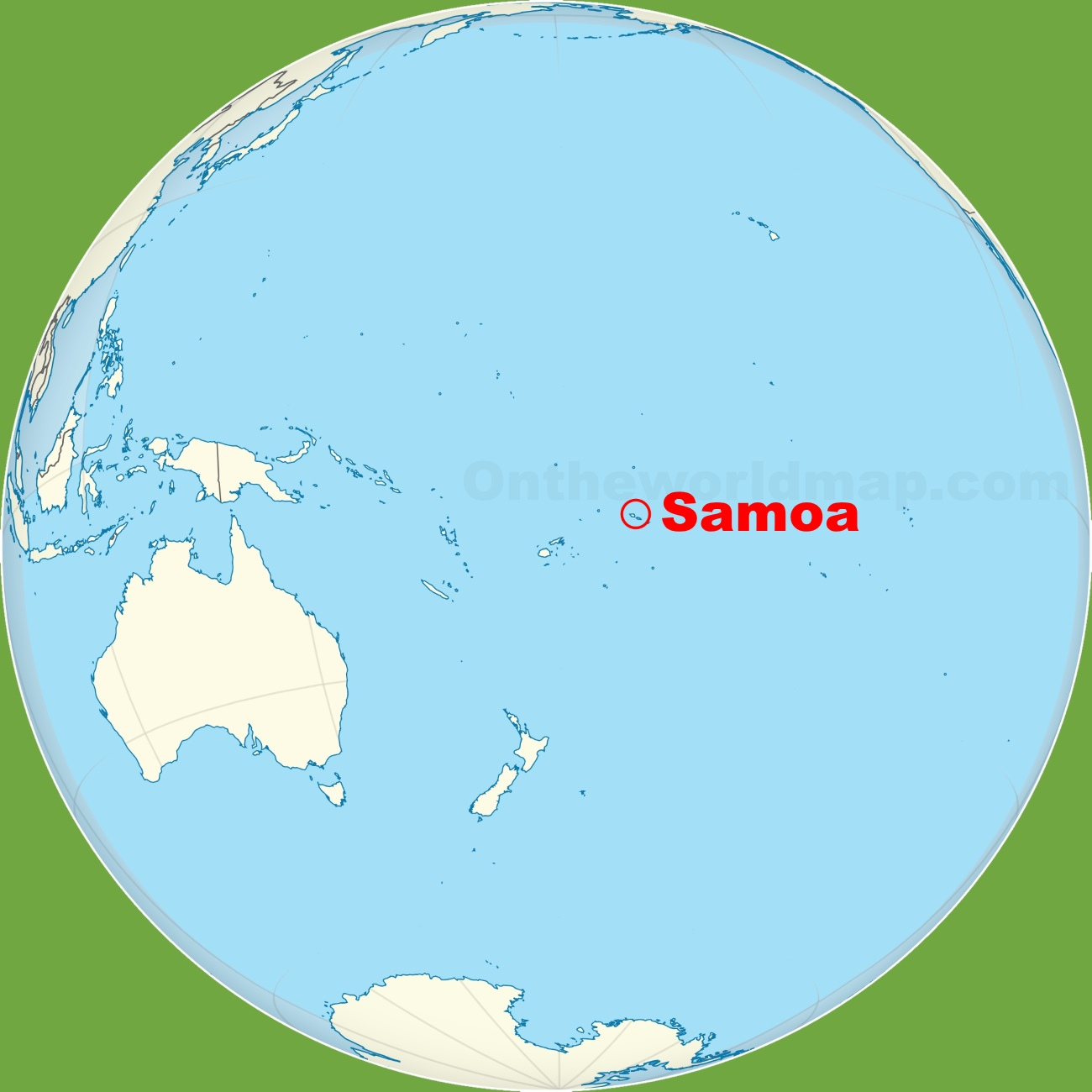 Samoa location on the Pacific Ocean map