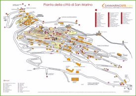 Large detailed tourist map of San Marino city