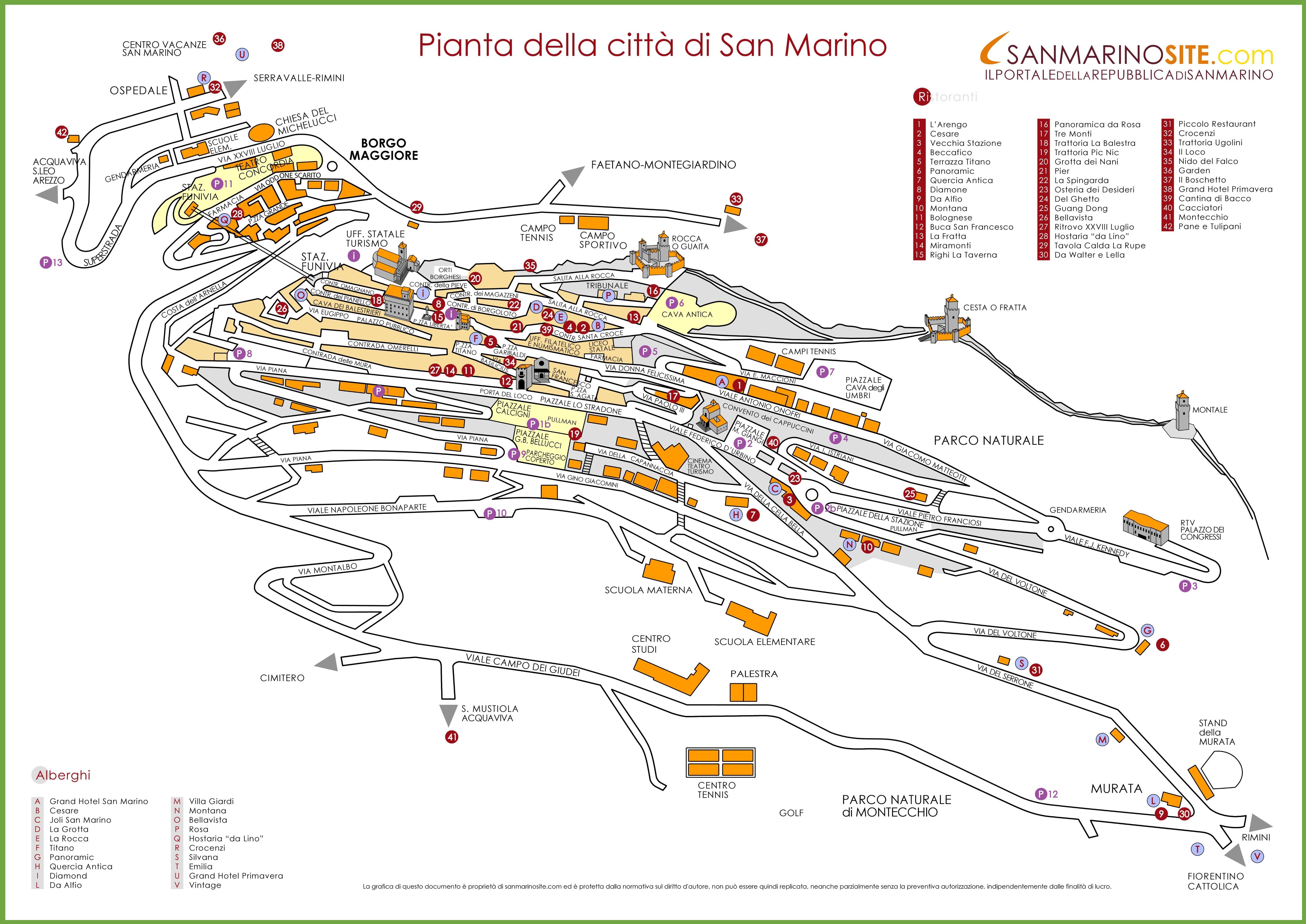 San Marino Map Large detailed tourist map of San Marino city San Marino Map