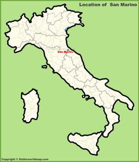 San Marino location on the map of Italy