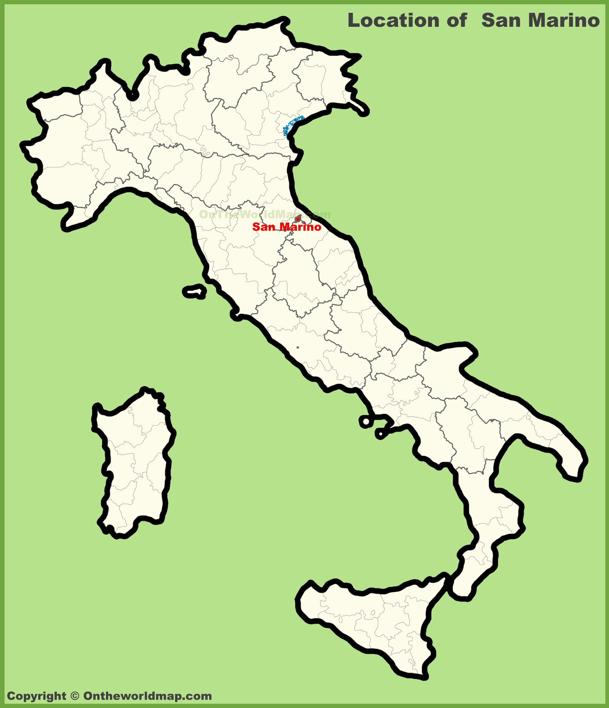San Marino location on the map of Italy on sao tome map, slovakia map, saint kitts and nevis, vatican map, poland map, montenegro map, papal states, serbia map, monaco map, american samoa map, reunion map, usa map, yugoslavia map, vatican city, marshall islands, enclave and exclave, landlocked country, wales map, switzerland map, malta map, faroe islands, seychelles map, italy map, luxembourg map, sweden map, slovenia map, andorra map,