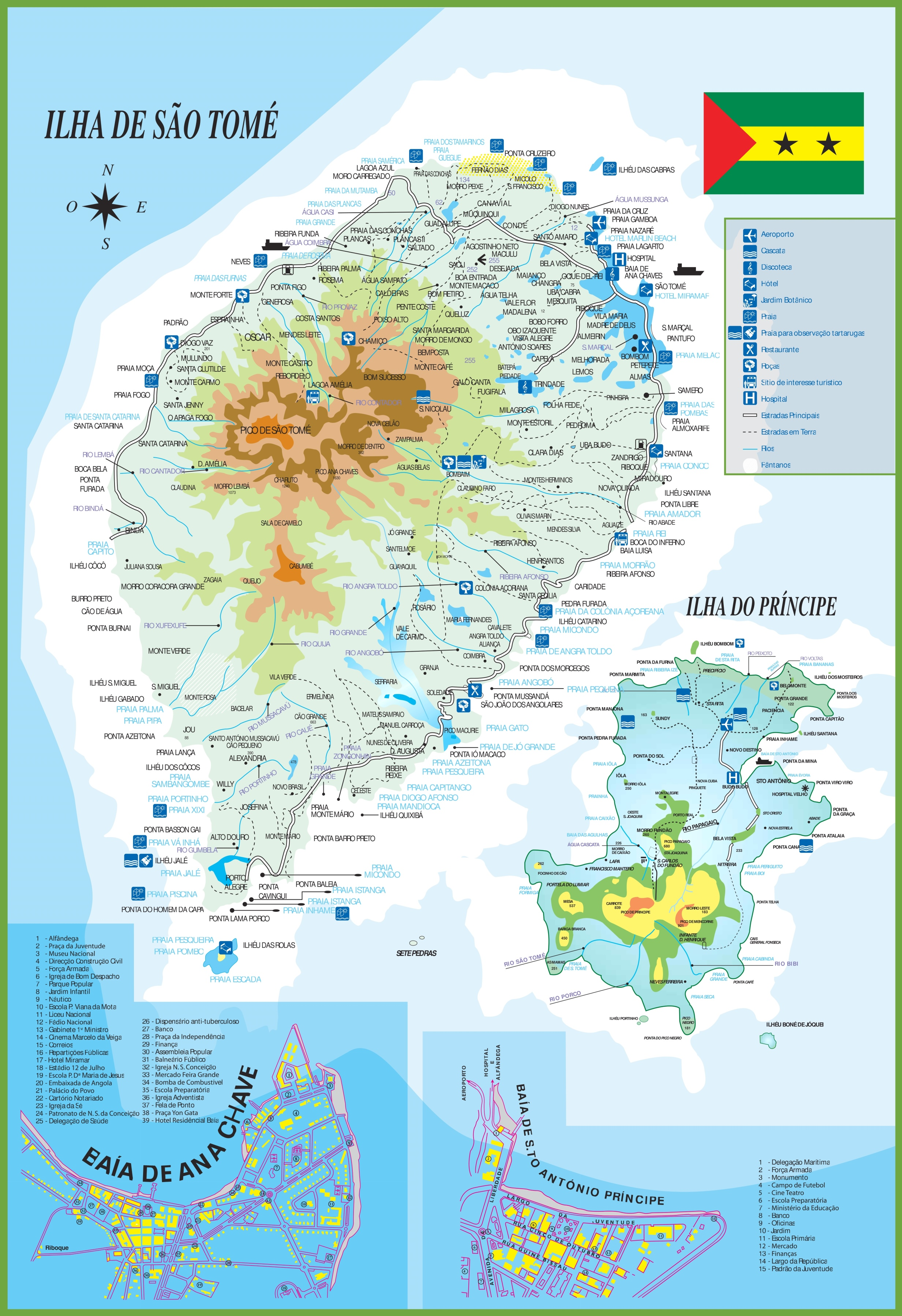 Sao Tome And Principe Map Large detailed tourist map of Sao Tome and Principe