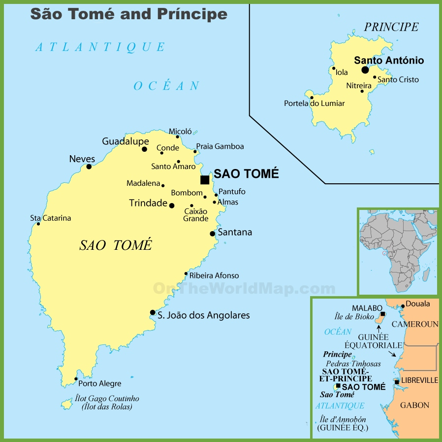 Sao Tome and Principe political map Sao Tome And Principe Map on djibouti map, senegal map, rwanda map, namibia map, swaziland map, cape of good hope map, kenya map, nubian desert map, mauritius map, burkina faso map, saint kitts and nevis map, togo map, sierra leone map, lake tanganyika map, atlas mountains map, cape verde map, seychelles map, saudi arabia map, mount kilimanjaro map, falkland islands malvinas map,
