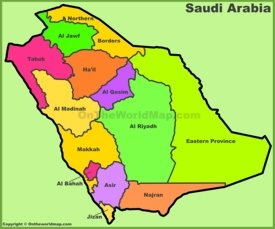 Administrative divisions map of Saudi Arabian